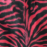 Zebra Red Small Stripe Velboa Fur Zebra Animal Short Pile Fabric