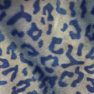 Baby Leopard Blue Velboa Fur Leopard Animal Short Pile Fabric