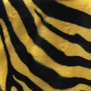 Zebra Yellow Big Stripe Velboa Fur Zebra Animal Short Pile Fabric