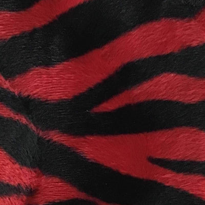 Big Zebra Red Small Stripe Velboa Fur Zebra Animal Short Pile Fabric