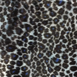 Baby Cheetah Blue Velboa Fur Cheetah Animal Short Pile Fabric