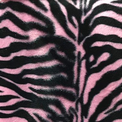 Zebra Pink Small Stripe Velboa Fur Zebra Animal Short Pile Fabric