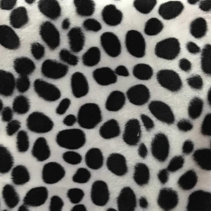 White Velboa Fur Dalmatian Dog Animal Short Pile Fabric