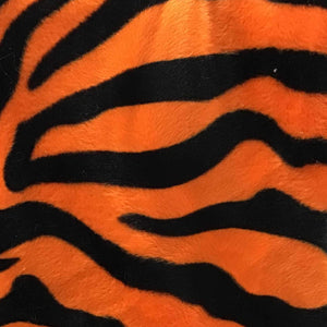 Zebra Orange Velboa Faux Fake Fur Zebra Animal Short Pile Fabric