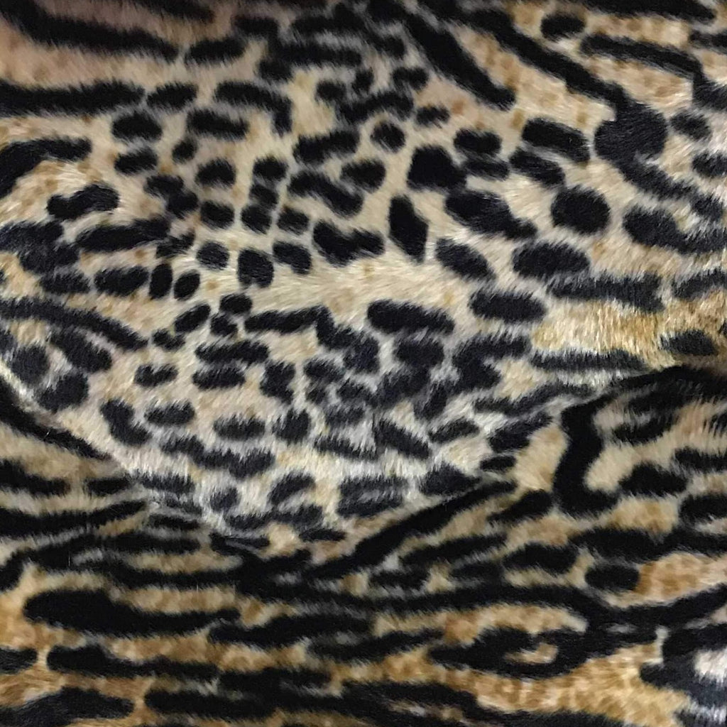 Wild Cat Brown Velboa Fur Puma Animal Short Pile Fabric