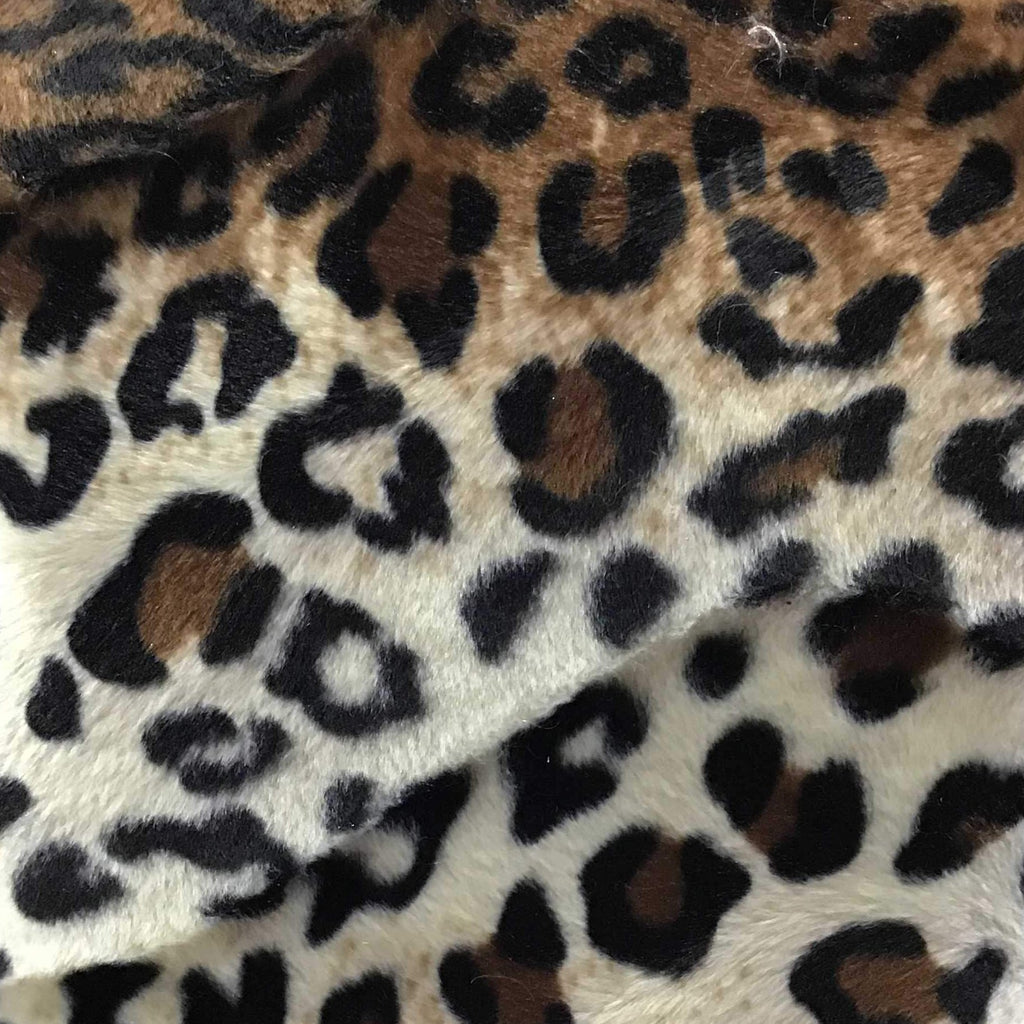 Leopard Brown Velboa Fur Leopard Animal Short Pile Fabric