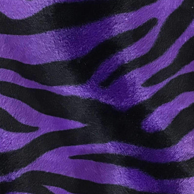 Zebra Purple Big Stripe Velboa Fur Zebra Animal Short Pile Fabric