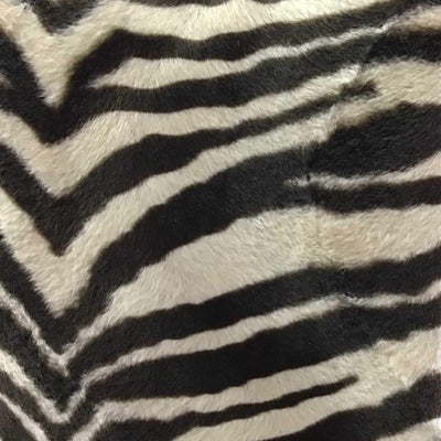 Zebra Beige Velboa Fur Zebra Animal Short Pile Fabric