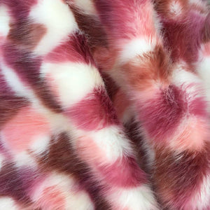 Violet Brown White Versicolor Faux Fur Fabric