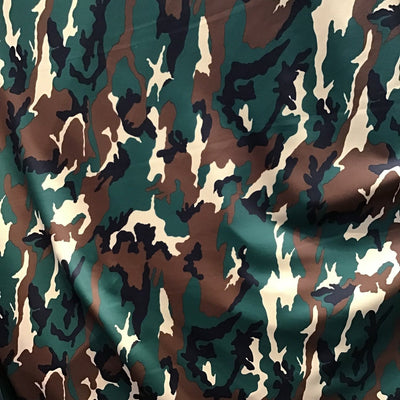 Green Brown Camouflage Spandex Fabric