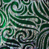 Silver Green Mystique Swirl Stretch Spandex