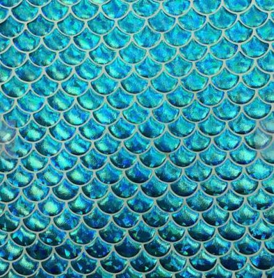 Gray Turquoise Large Mermaid Fish Scale