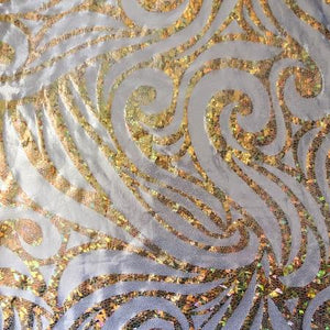 Silver Gold Mystique Swirl Stretch Spandex