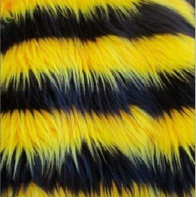 Black Yellow Faux Fur Striped Long Pile Fabric