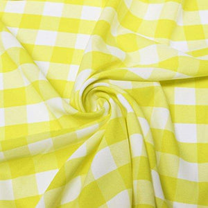 Yellow Checkered Gingham Polyester Poplin Fabric