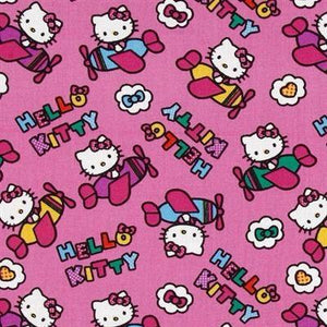 Hello Kitty Airplane 100% Cotton Print Fabric