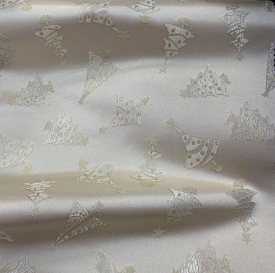Gold White Metallic Christmas Trees Brocade fabric