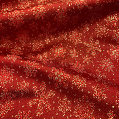 Red Gold Metallic Christmas Snow Flake Brocade fabric