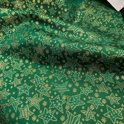 Green Gold Metallic Christmas Stars Brocade fabric