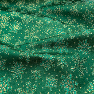 Green Gold Metallic Christmas Snow Flake Brocade fabric