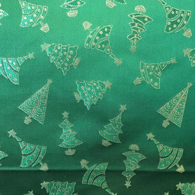 Green Gold Metallic Christmas Trees Brocade fabric