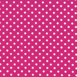 "1/4"" inches White on Fuchsia Dots Poly Cotton Fabric"