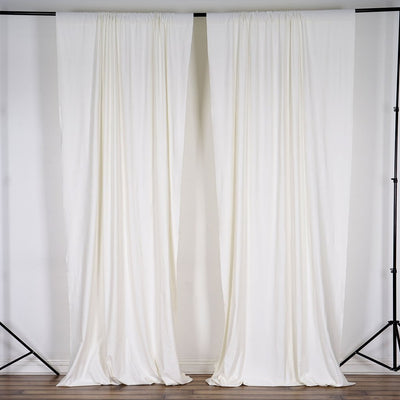 10 Ft x 10 Ft Ivory Polyester Backdrop Drapes Curtains 2 Panels 5x10