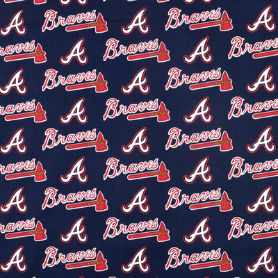 MLB Broadcloth Atlanta Braves Navy/Red 100% Cotton Fabric