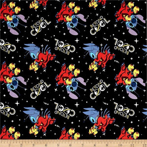 Disney Lilo & Stitch Beyond Cool Black 100% Cotton Fabric