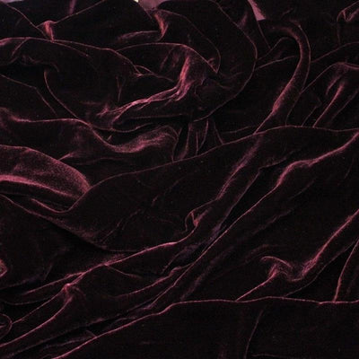 Dark Burgundy Silk Velvet Fabric