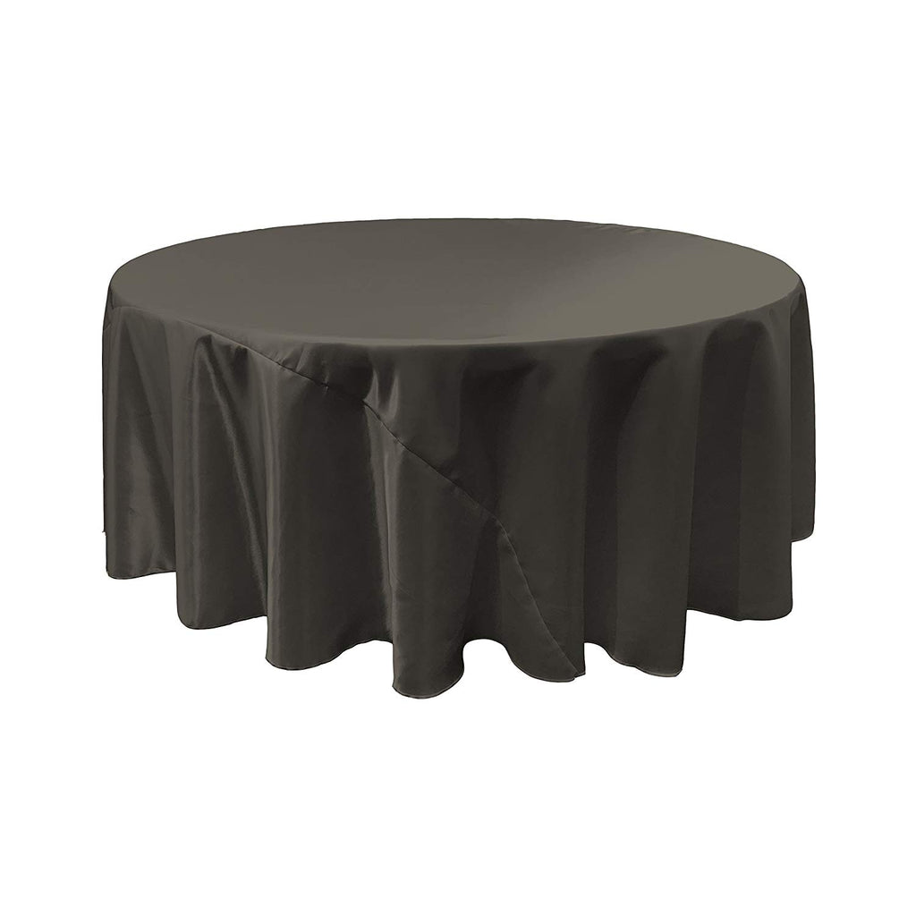 Black Satin Round Tablecloth 120""