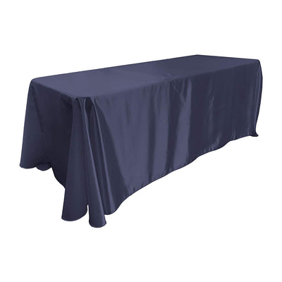 Navy Blue Bridal Satin Rectangular Tablecloth 90 x 156