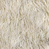 Ivory Faux Fake Mongolian Animal Fur Fabric Long Pile