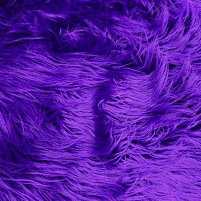 Purple Faux Fake Mongolian Animal Fur Fabric Long Pile