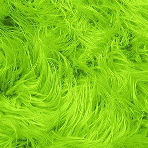 Lime Faux Fake Mongolian Animal Fur Fabric Long Pile