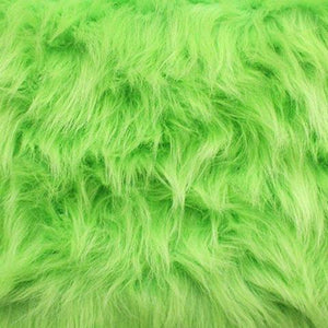 Lime Faux Fake Fur Solid Shaggy Long Pile Fabric