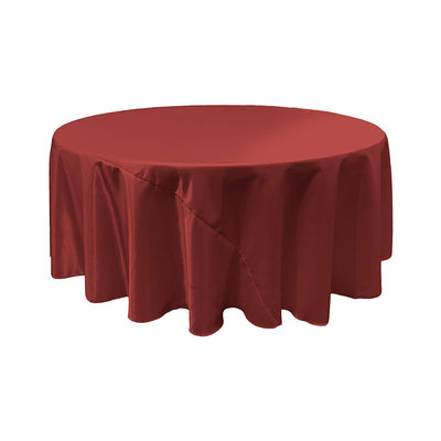 Burgundy Satin Round Tablecloth 120