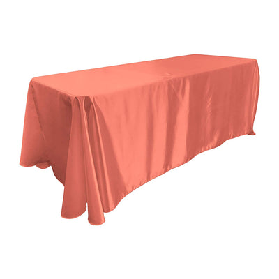 Coral Bridal Satin Rectangular Tablecloth 90 x 156