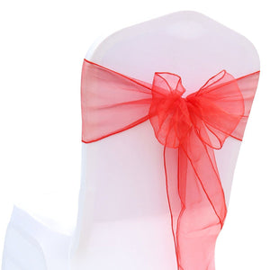 (12 pack) Red Organza Sash