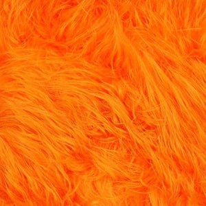 Orange Faux Fake Fur Solid Shaggy Long Pile Fabric