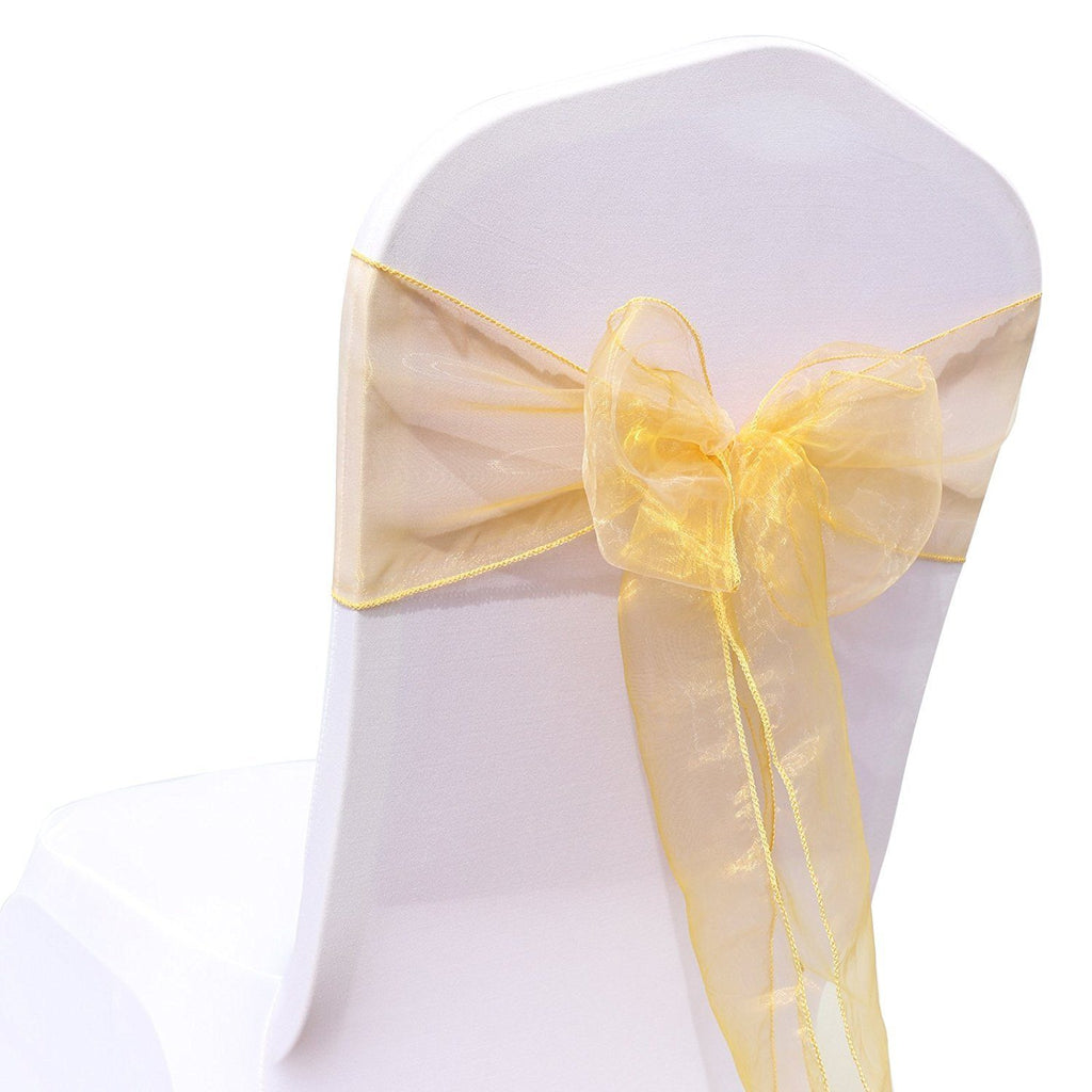 (12 Pack) Gold Organza Sash