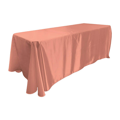 Dusty Rose Bridal Satin Rectangular Tablecloth 90 x 156