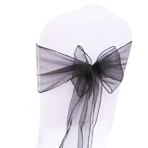 (12 Pack) Black Organza Sash