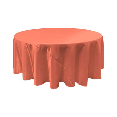 Coral Bridal Satin Round Tablecloth 132