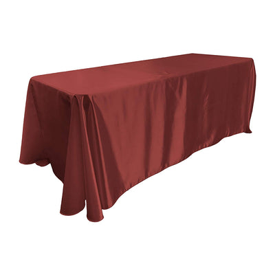 Burgundy Bridal Satin Rectangular Tablecloth 90 x 156