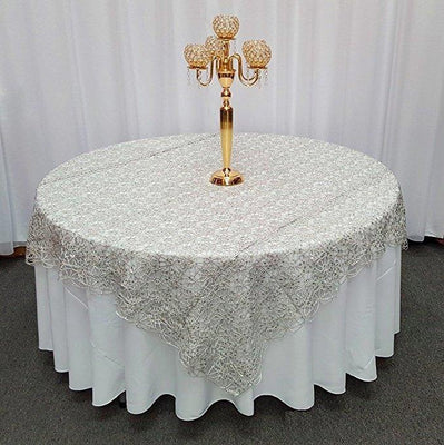 Silver Chemical Lace Square Overlay Tablecloth 72