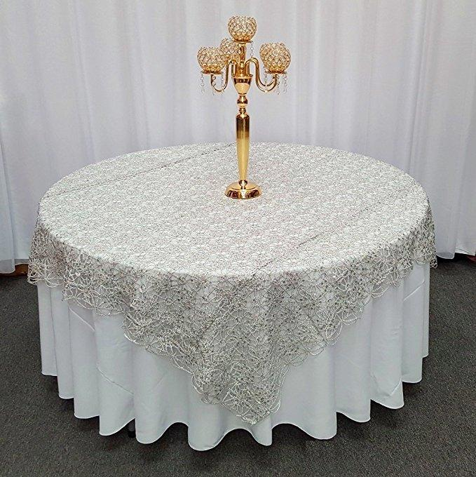 "Silver Chemical Lace Square Overlay Tablecloth 85"" x 85"""