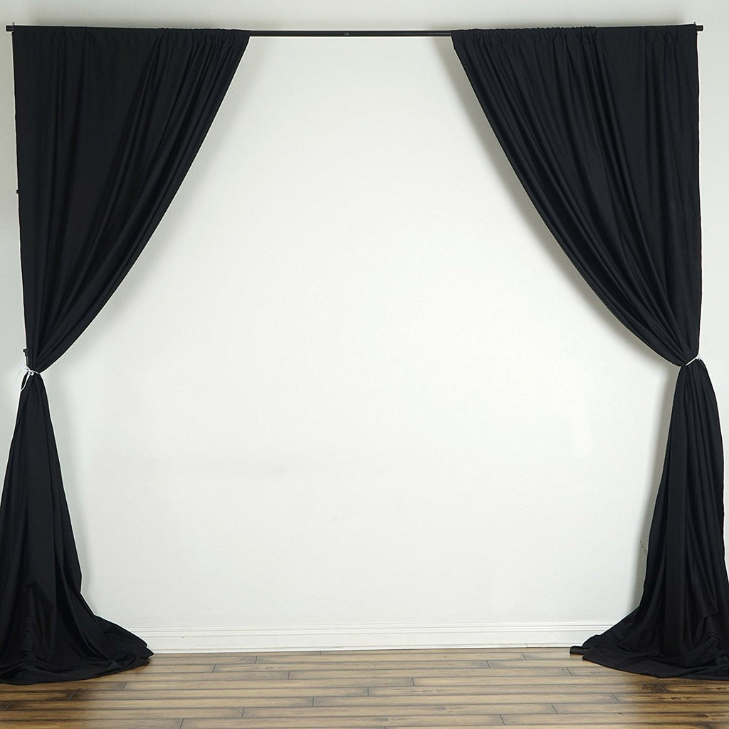 10 Ft x 10 Ft Black Polyester Backdrop Drapes Curtains 2 Panels 5x10