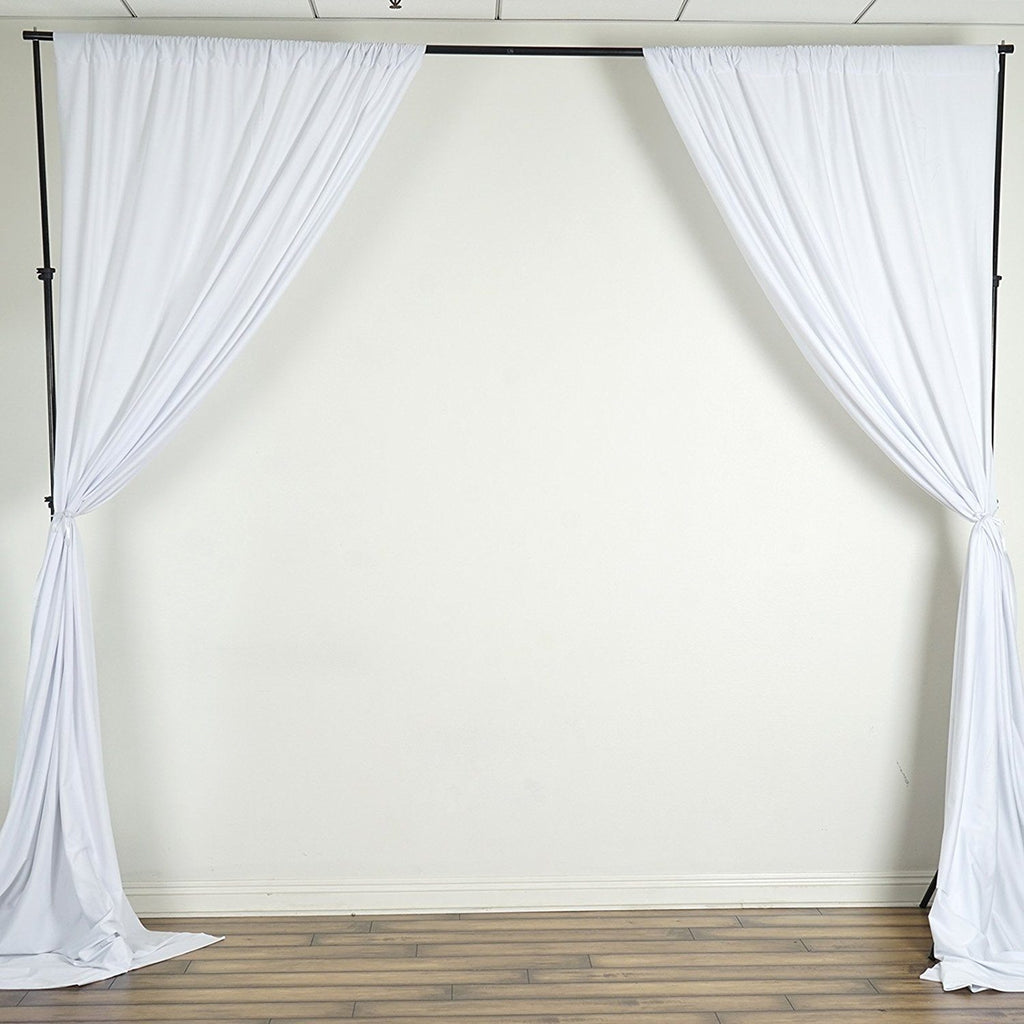 10 Ft x 10 Ft White Polyester Backdrop Drapes Curtains 2 Panels 5x10
