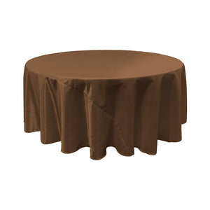 Brown Bridal Satin Round Tablecloth 120""